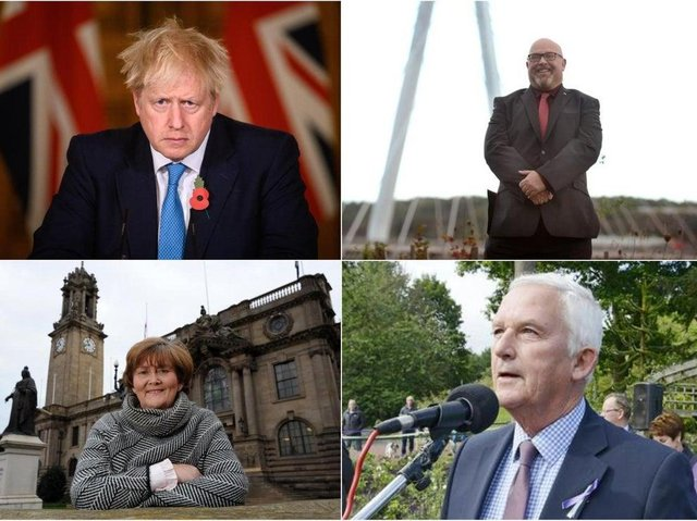 Clockwise from top left, Prime Minister Boris Johnson, Cllr Graeme Miller, leader of Sunderland City Council, Cllr Tracey Dixon, leader of South Tyneside Council and Cllr Glen Sanderson, leader of Northumberland County Council. Photo made with Getty Images.