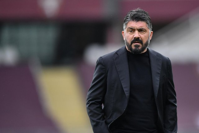 TURIN, ITALY - APRIL 26:  SSC Napoli head coach Gennaro Gattuso looks on during the Serie A match between Torino FC and SSC Napoli at Stadio Olimpico di Torino on April 26, 2021 in Turin, Italy.  (Photo by Valerio Pennicino/Getty Images)