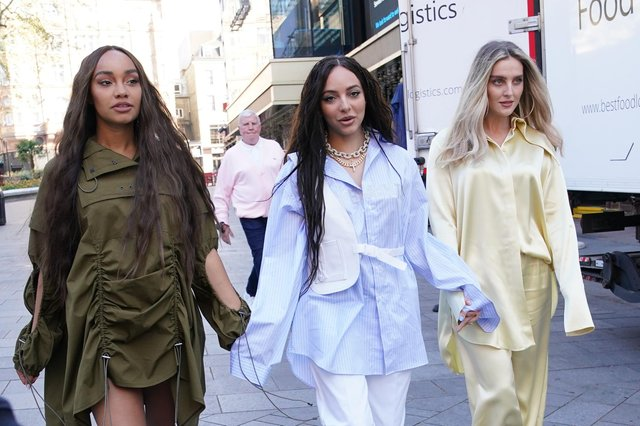 The members of Little Mix, (left to right) Leigh-Anne Pinnock, Jade Thirlwall and Perrie Edwards, arriving at the studios of Global Radio in London.
