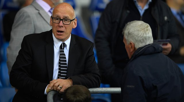 CARDIFF, WALES - SEPTEMBER 27:  Derby chairman Mel Morris looks on before the Sky Bet Championship match between Cardiff City and Derby County at Cardiff City Stadium on September 27, 2016 in Cardiff, Wales.  (Photo by Stu Forster/Getty Images)