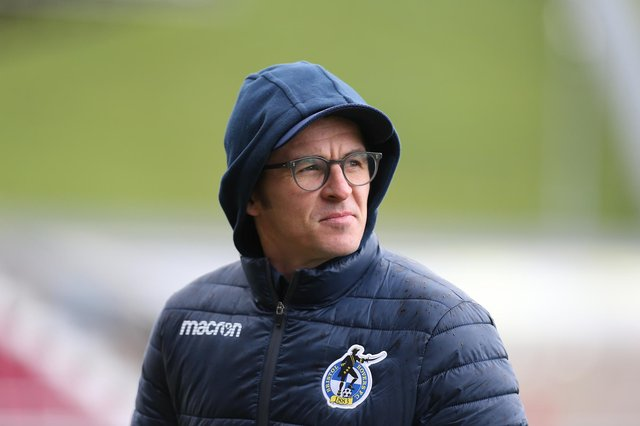 Bristol Rovers manager Joey Barton looks on prior to the Sky Bet League One match between Northampton Town and Bristol Rovers at PTS Academy Stadium on April 10, 2021 in Northampton, England. (Photo by Pete Norton/Getty Images)