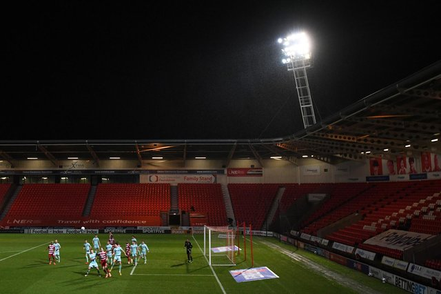 Behind closed doors at the Keepmoat Stadium. Photo: George Wood/Getty Images