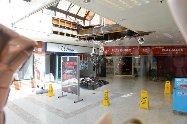 Picture from inside the Cardstation store showing the damage at the Denmark Centre.