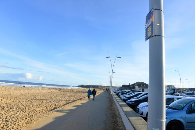 Covid warning signs at Sandhaven Beach.