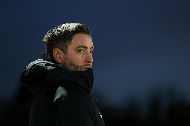 Lee Johnson, head coach of Sunderland, looks on prior to the Sky Bet League One match between Accrington Stanley and Sunderland.