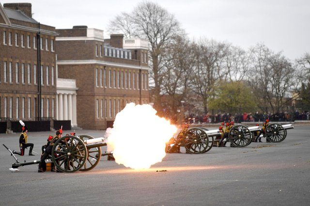 Members of the King's Troop Royal Horse Artillery fire a 41-round gun salute at Woolwich Barracks in London, to mark the death of the Duke of Edinburgh. Picture: Daniel Leal-Olivas/PA Wire.