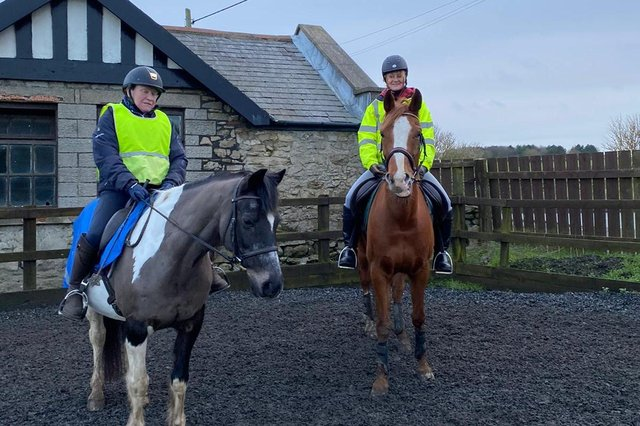 Tracey Wardingham, right, has complained of careless lockdown dog walkers putting horse riders and their own pets at risk