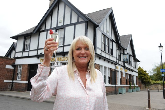 Lesley Huntley, owner of The Lord Nelson, prepares to welcome customers back inside her Monkton Village pub.