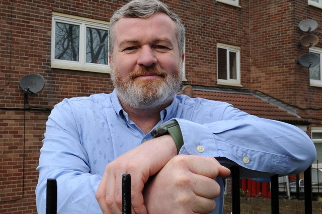 Lee Moore, Armed Forces Support Officer, at the veterans' accommodation, Bedford Avenue, South Shields.