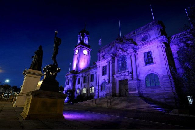 South Shields town hall will be lit purple all week to honour the Duke of Edinburgh
