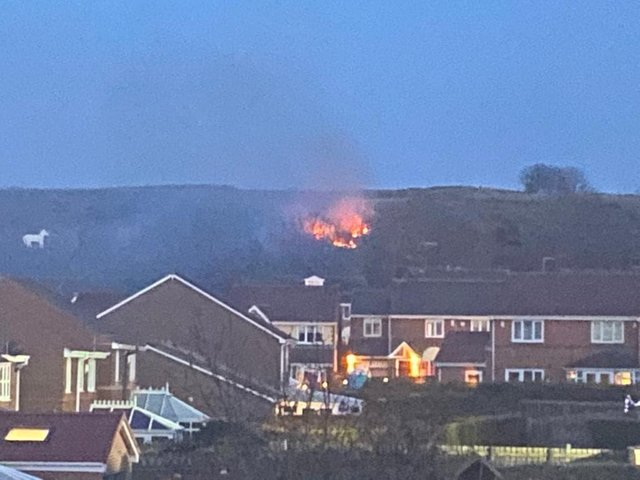 Fire at the Marsden Old Quarry nature reserve