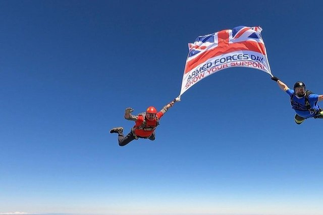 The flag starts its journey from Shotton Colliery airfield. Picture: Sky-High Skydiving