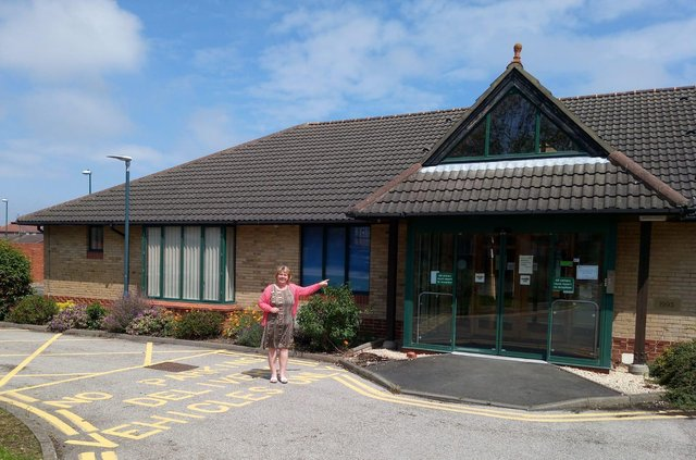 Campaigner Kay Smith outside the former St Clare's Hospice building in Jarrow.