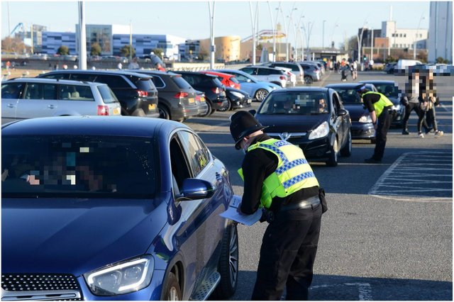 Police spoke to drivers in the car park by the Little Haven beach in South Shields on Saturday, February 27. Picture: North News.