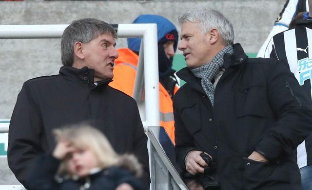 Former Newcastle players Peter Beardsley and Rob Lee talk prior to The Emirates FA Cup Third Round match between Newcastle United and Luton Town at St James' Park on January 6, 2018 in Newcastle upon Tyne, England.