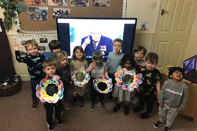 South Tyneside nursery children paying tribute to Captain Sir Tom Moore