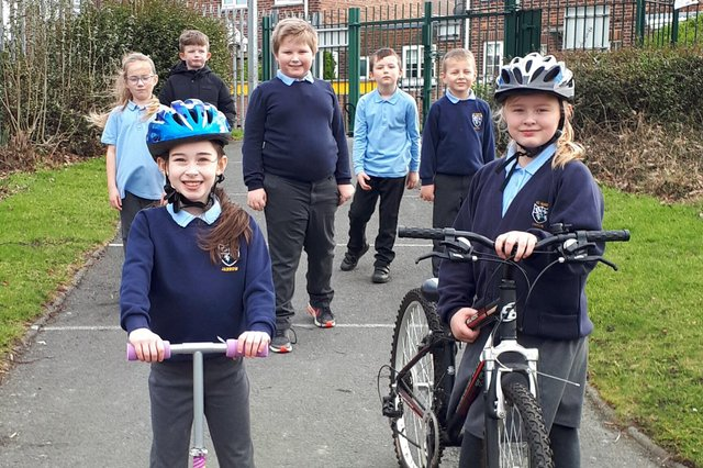 Pupils from St Mary's are all smiles after their cycling success