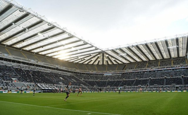 NEWCASTLE UPON TYNE, ENGLAND - MAY 19: Aa general view of St James' Park during its first game back with fans during the Premier League match between Newcastle United and Sheffield United at St. James Park on May 19, 2021 in Newcastle upon Tyne, England. (Photo by Stu Forster/Getty Images)