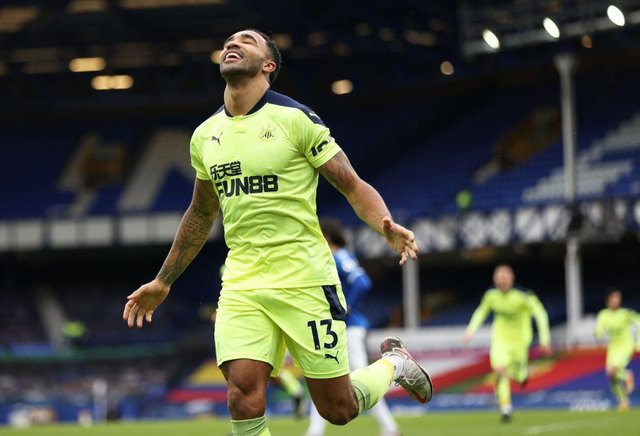 Callum Wilson of Newcastle United celebrates after scoring his team's first goal during the Premier League match between Everton and Newcastle United at Goodison Park on January 30, 2021 in Liverpool, England.