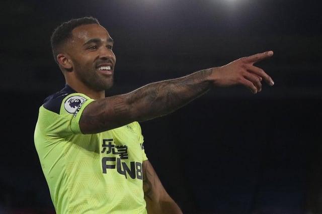 Callum Wilson celebrates his first goal against Leicester City.