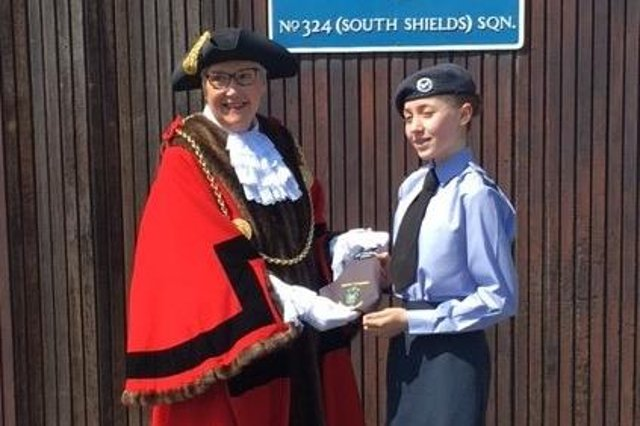Mayor of South Tyneside, Councillor Pat Hay, welcomes Corporal Sky-Marie Hannah-Green to join her in her civic duties.