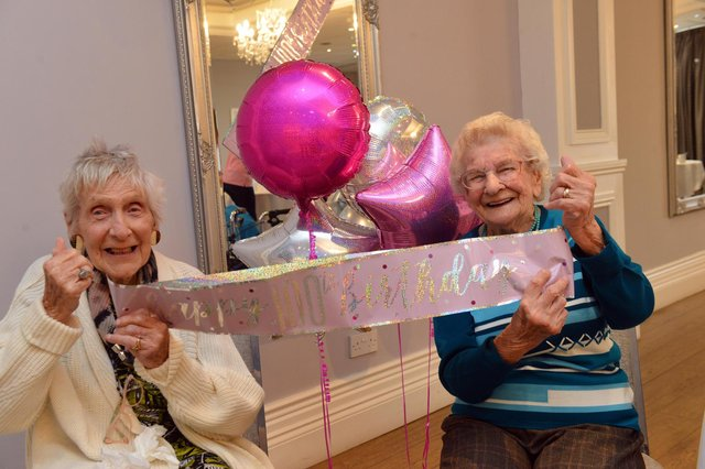Happy at Home party for Jean Macdonald and Lily Miller (R) celebrating their 100th birthdays at The Sea Hotel.