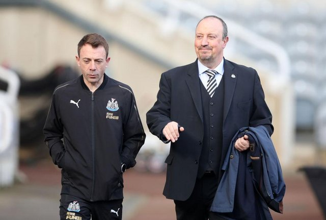 Francisco Paco De Miguel Moreno (L) Rafael Benitez, Manager of Newcastle United arrive at the stadium prior to the Premier League match between Newcastle United and Huddersfield Town at St. James Park on February 23, 2019 in Newcastle upon Tyne, United Kingdom.