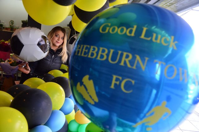 Thanks A Bunch Aimee Stead showing support for Hebburn Town FC ahead of their FA Vase final.