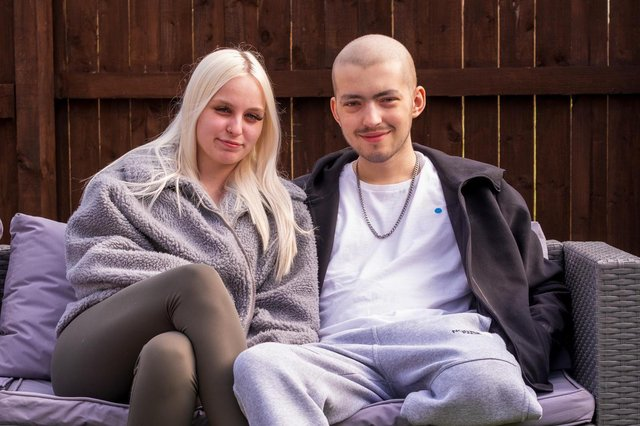 Kai Heslop at home with girlfriend Nicole Hughes following the surgery. Photo by Steven Lomas.