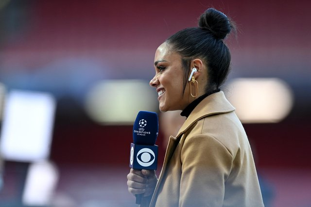 Alex Scott reacts prior to the UEFA Champions League Quarter Final Second Leg match between Liverpool FC and Real Madrid at Anfield on April 14, 2021.