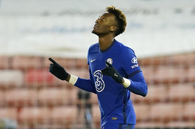 Chelsea's English striker Tammy Abraham celebrates after scoring the opening goal of the English FA Cup fifth round football match between Barnsley and Chelsea.