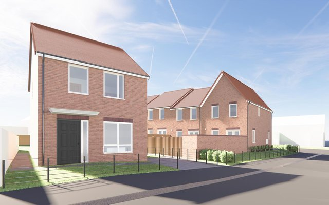 CGI of proposed council housing development at Henderson Road, South Shields