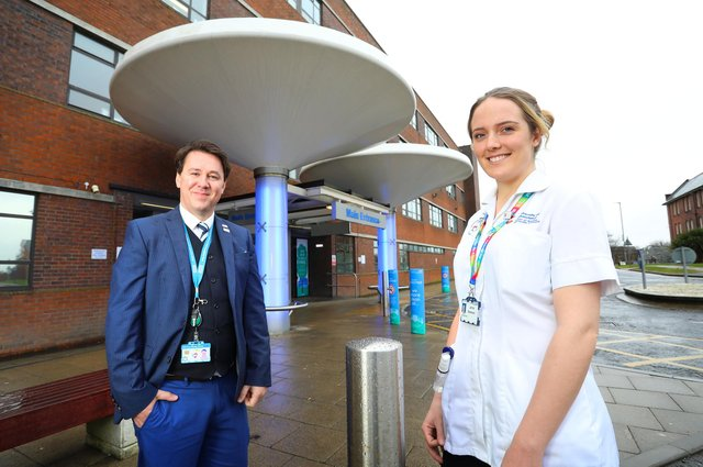 Student Nurse Jenna Bradwell with Dr Guy Tucker, Head of Nursing, Midwifery and Allied Health Professionals Education.