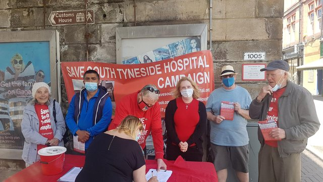 Emma-Lewell Buck MP with hospital campaigners in King Street, South Shields, on Friday, June 5.
