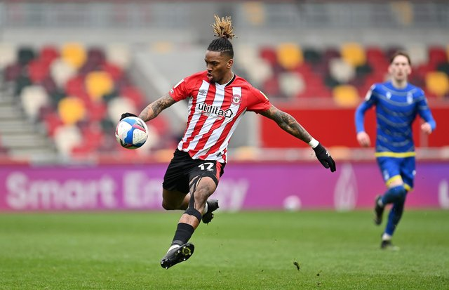 Ivan Toney of Brentford shoots during the Sky Bet Championship match between Brentford and Nottingham Forest at Brentford Community Stadium on March 20, 2021.