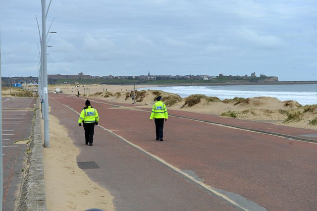Policing the lockdown at Sandhaven Beach in South Shields