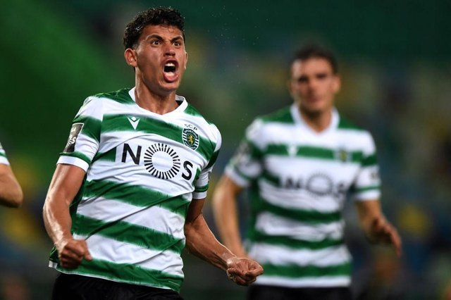 Sporting Lisbon midfielder Matheus Nunes has been frequently linked with Newcastle United.  (Photo by PATRICIA DE MELO MOREIRA/AFP via Getty Images)
