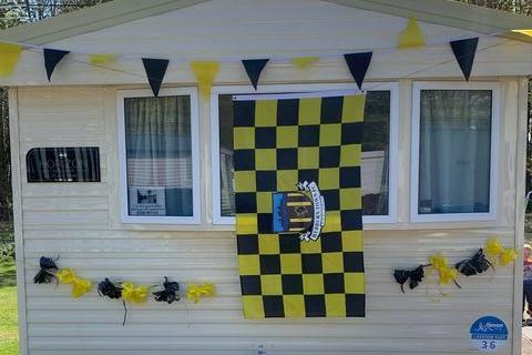 Darren and Cheryl Murphy have decorated their caravan to show support for Hebburn Town FC. Picture: Darren Murphy