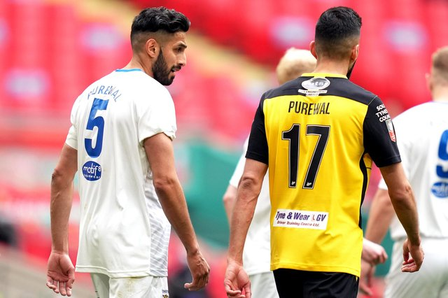 Consett's Arjun Purewal (left) and Hebburn Town's Amar Purewal during the Buildbase FA Vase 2019/20 Final at Wembley Stadium, London. PA pic.