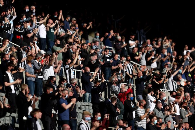 Fans show their support during the Premier League match between Newcastle United and Sheffield United at St James Park.