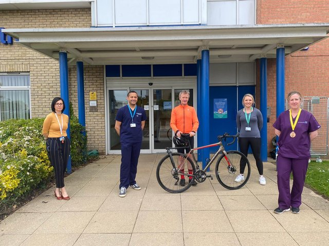Dr Mickey Jachuck, pictured second from left, and staff from South Tyneside and Sunderland NHS Foundation Trust are taking part in the year-long Pumping Foundation Challenge to tot up 7,000 miles.
