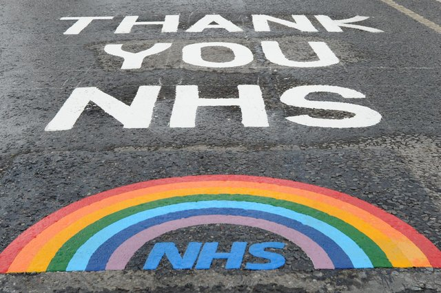 Road markings thanking the NHS in South Tyneside