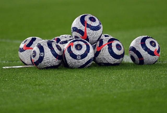 Premier League match balls. (Photo by Shaun Botterill/Getty Images)
