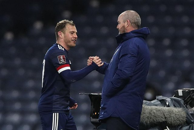 Scotland manager Steve Clarke pictured with Newcastle United winger Ryan Fraser (Photo by Ian MacNicol/Getty Images)