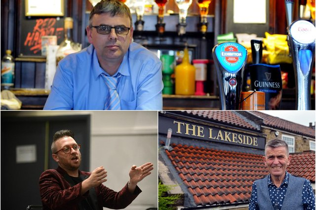 Lee Hughes (above), who runs the Red Hackle pub in Jarrow; Stephen Sullivan, owner of Ziggy's Bar in South Shields (below, left); Lakeside Inn manager, Carl Mowatt (below, right)