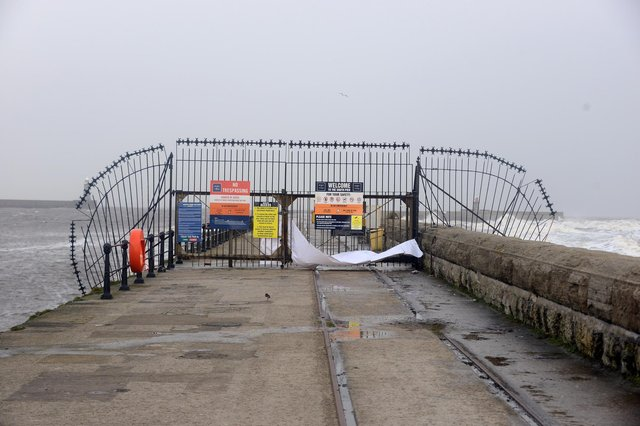 The gated section of South Pier has remained closed to both anglers and walkers during the pandemic.