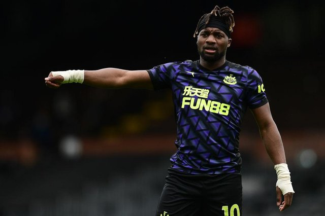 Allan Saint-Maximin of Newcastle United gestures during the Premier League match between Fulham and Newcastle United at Craven Cottage on May 23, 2021 in London, England.