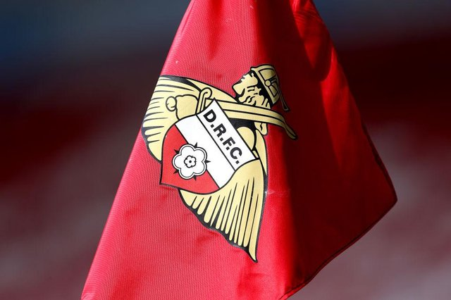 A detailed view of a Doncaster Rovers corner flag during the Sky Bet League One match between Doncaster Rovers and Peterborough United at Keepmoat Stadium on May 09, 2021 in Doncaster, England.