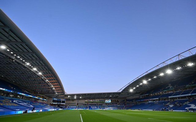 Amex Stadium, which will host Brighton and Hove Albion versus Newcastle United. (Photo by GLYN KIRK/POOL/AFP via Getty Images)