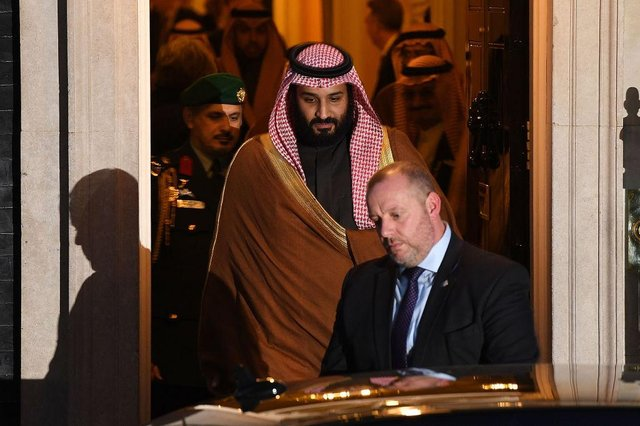 Saudi Crown Prince Mohammed bin Salman leaves number 10 Downing Street after a meeting with British Prime Minister Theresa May on March 7, 2018 in London, England.